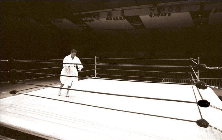 In the hours before his fight with Earnie Shavers fight, Ali worked alone on his hand and foot speed. He's pictured here in an empty Madison Square Garden.