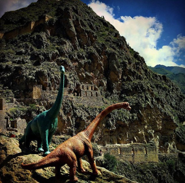 Jorge Saenz has been adding toy dinosaurs to his photos, positioned just so to create some truly exotic images.