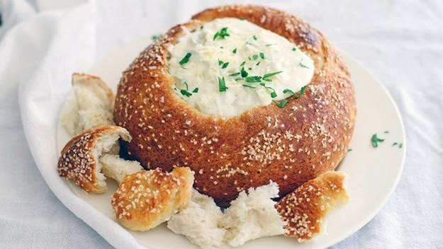 Bake up a pretzel bowl to put any dip in.