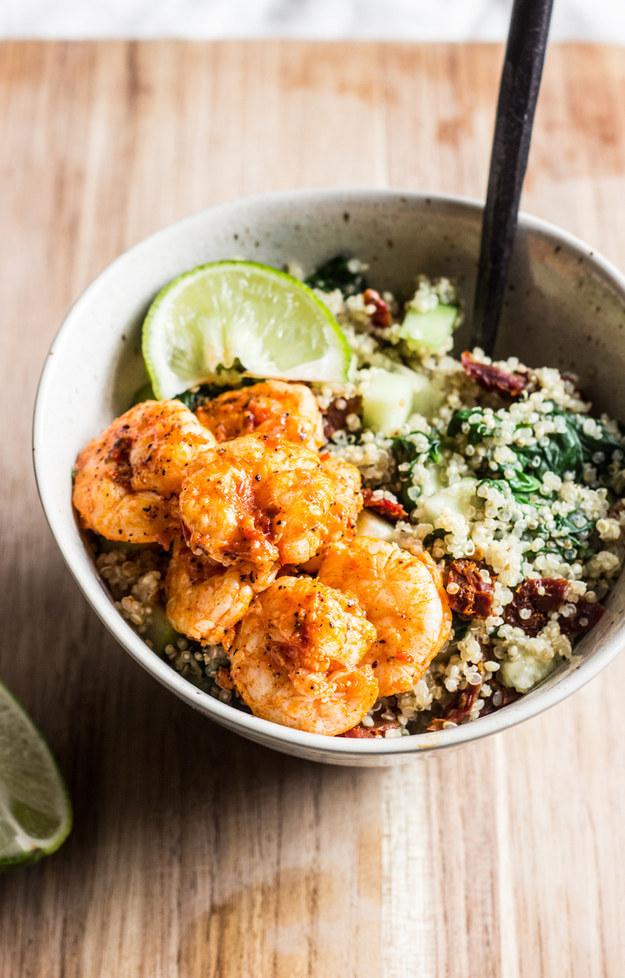 Quinoa Bowls with Harissa Shrimp