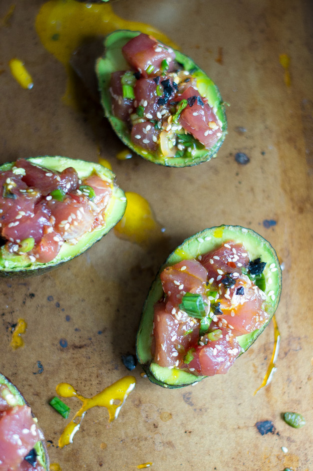 Slice and dice some ahi tuna and serve in a gorgeous avocado boat.