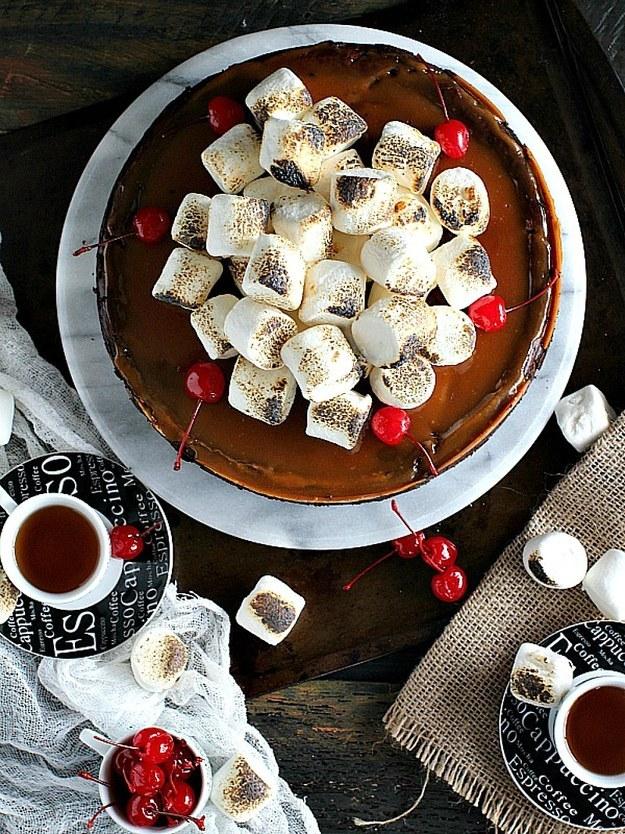 Toasted Marshmallow Chocolate Caramel Cheesecake