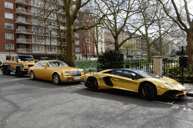 In particular, this fleet of gold supercars, seen here on Wednesday in Cadogan Place in Knightsbridge – all with parking tickets – have been turning heads.