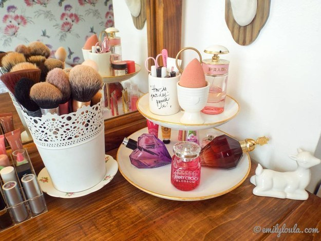 If you have a Beauty Blender and are tired of it rolling all around your vanity, try storing it in an egg cup.