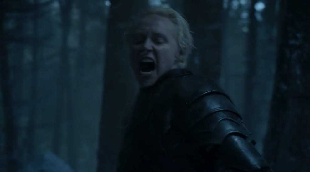 Finally Brienne shows up, and in typical Brienne style she is killing some men. Specifically, they look like Bolton men.
