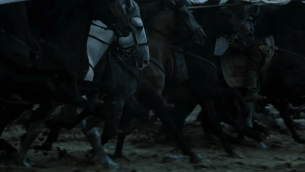 Then we see some horses seemingly charging into battle. Looking at the ground this is almost certainly Bolton-related.