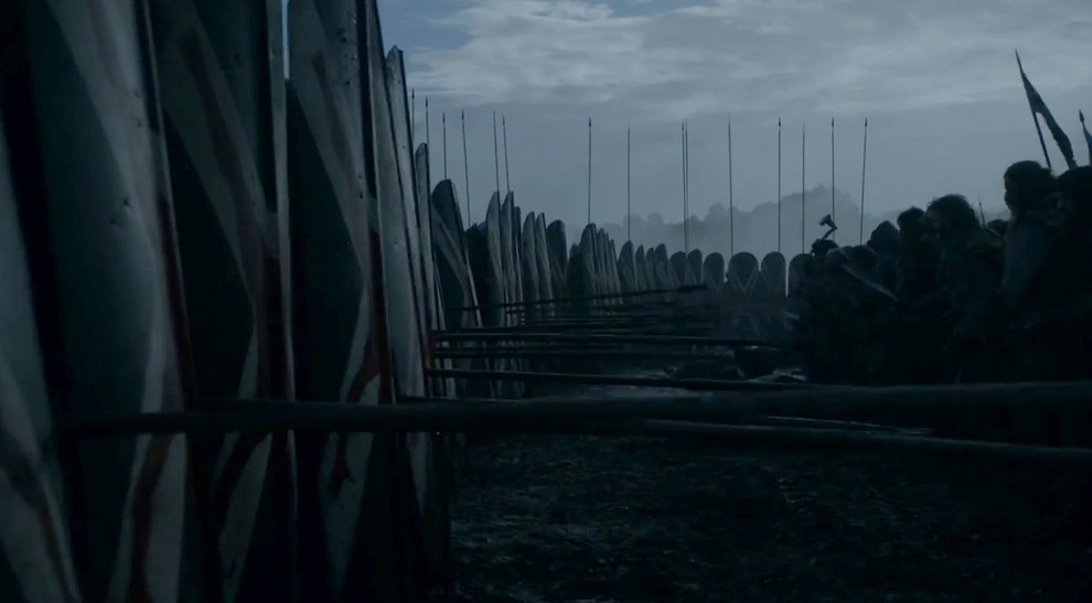 Another northern battle scene shows Bolton forces coming across a group that seems to contain wildlings.