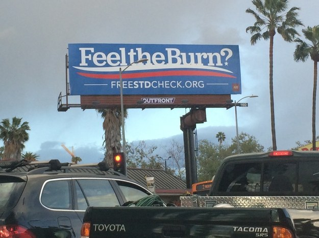 """Earlier this week, billboards popped up throughout Los Angeles with the slogan """"Feel the Burn?"""" and website for free STD testing resources."""