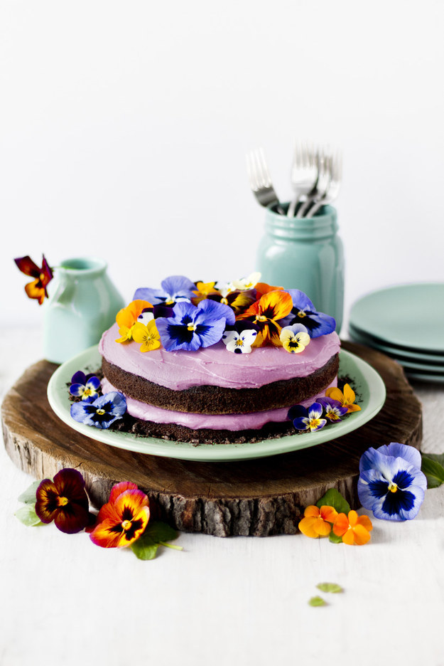 Pansy Cake With Edible Dirt