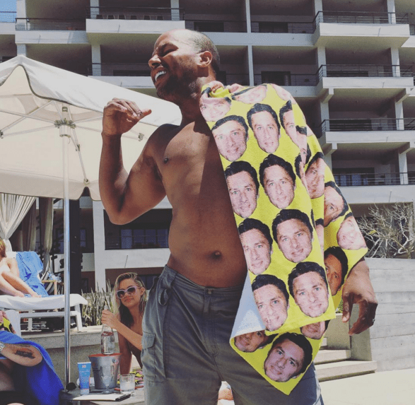 Obviously Donald brought a towel with Zach's face all over it.