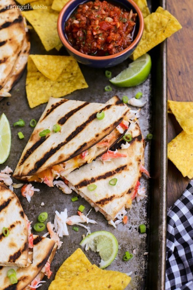Cheesy Grilled Crab Quesadilla