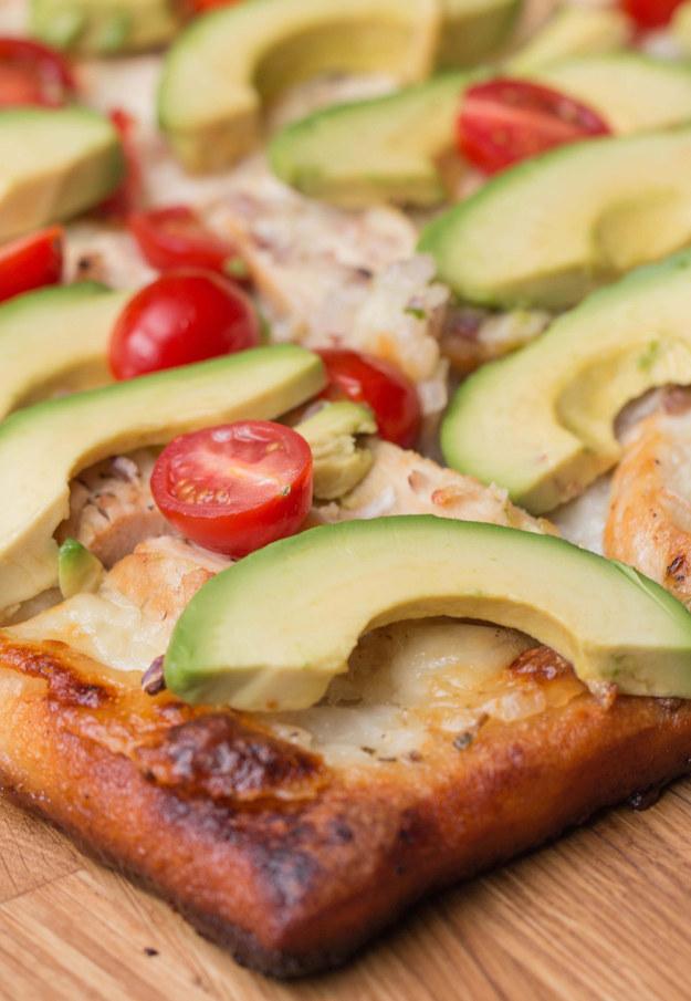 Chicken, Tomato, and Avocado Pizza