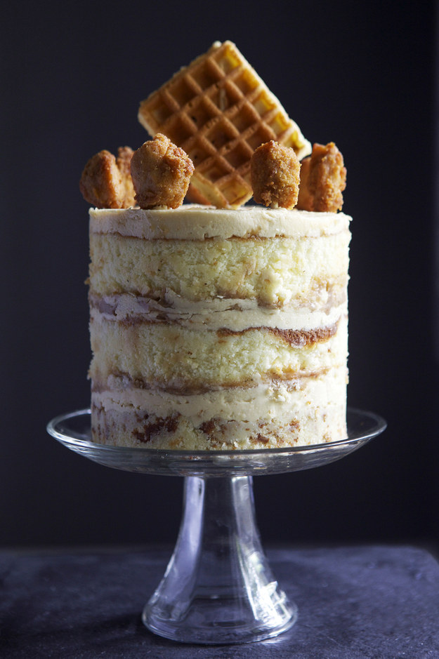 Chicken and Waffles Buttermilk Cake with Maple Syrup Buttercream
