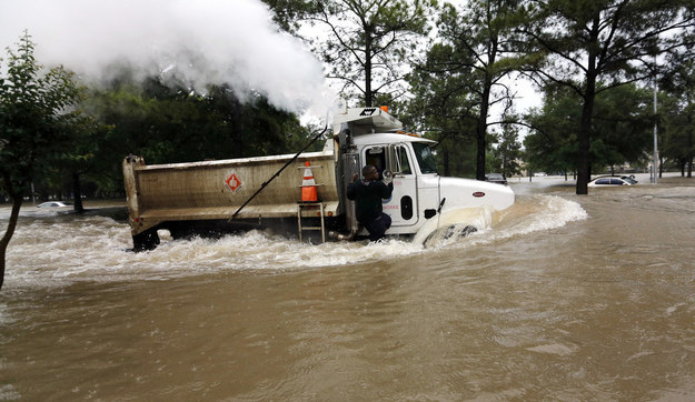 Flood waters in Houston, Texas, have been drowning large parts of the city, compelling its mayor to declare a state of disaster on Monday.