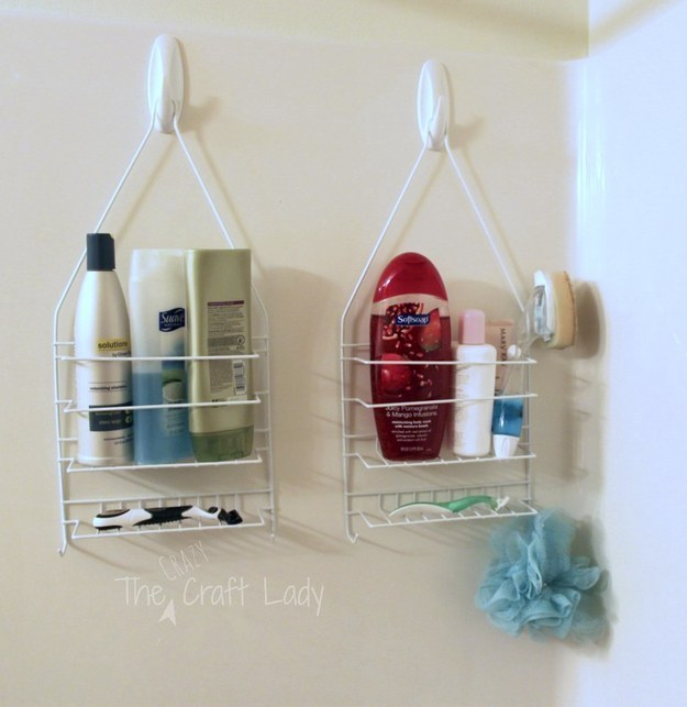 Hang multiple shower caddies on removable adhesive hooks.