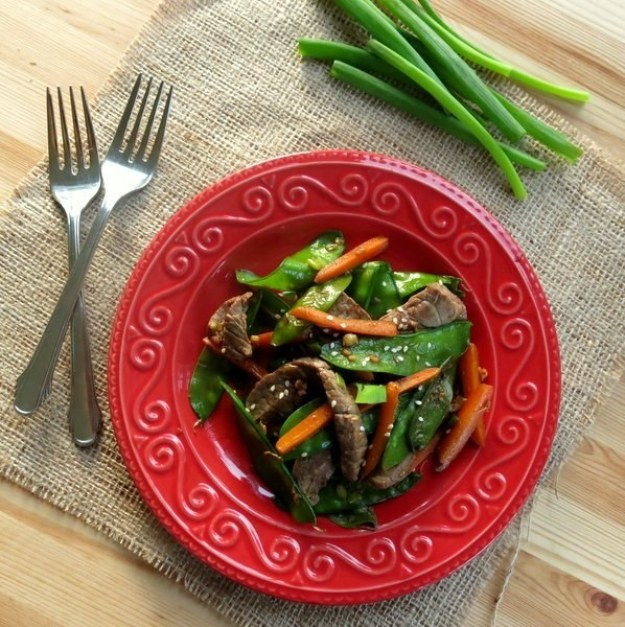 Sesame Beef Strips and Stir-Fry Vegetables