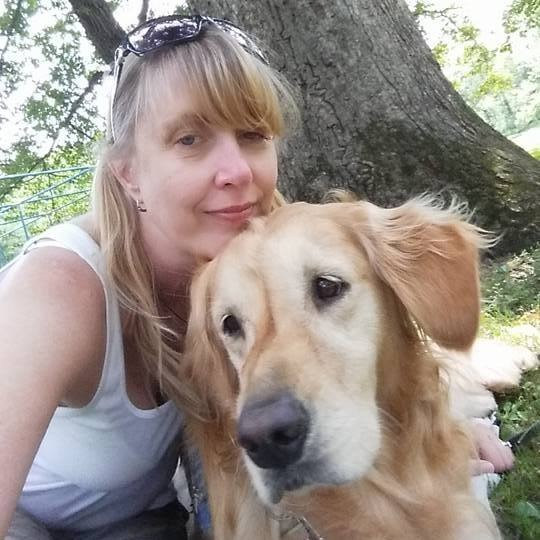 This is Lynne Ryan, a Chicago dental assistant, and JoJo, a 6-year-old golden retriever who serves as a comfort dog.