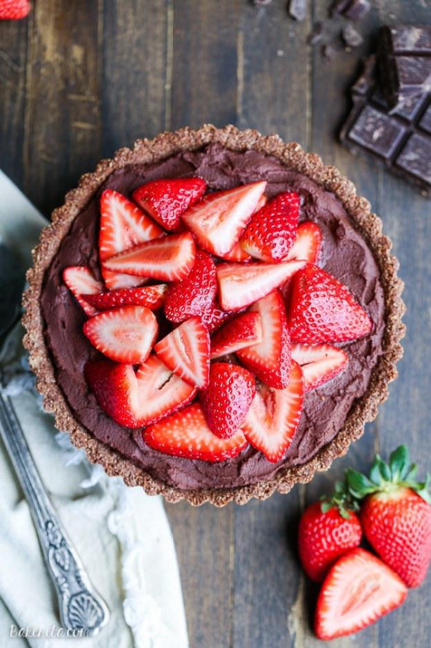 Coconut Cream Chocolate Tart with Strawberries