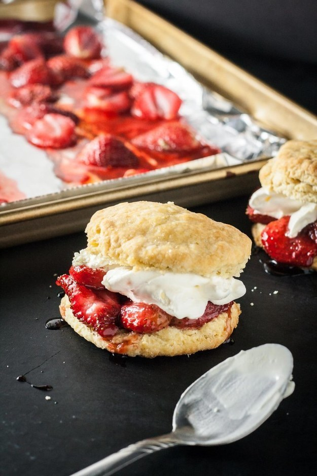 Roasted Strawberry Biscuits and Cream