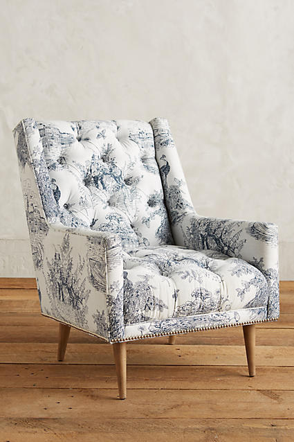 This armchair offers all the charm of an antique pattern without the old, creaky furniture.