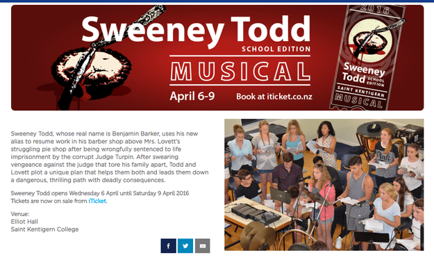 """Parents and students at a prestigious New Zealand high school were left shocked last night after a performance of Sweeney Todd resulted in """"severe and moderate injuries"""" to the necks of two boys."""