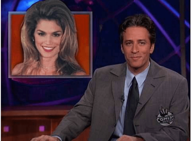Cindy Crawford remembered the time Jon Stewart made fun of her big hair on The Daily Show.