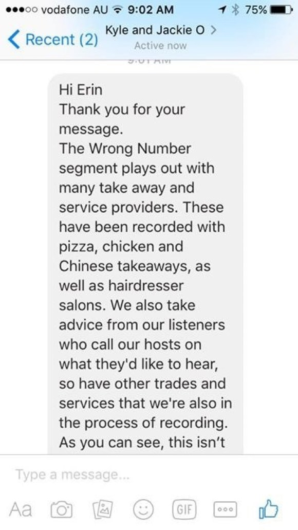 """Chew also told BuzzFeed she sent a complaint to KIIS FM via Facebook. The person who replied to her called the segment """"Wrong Number,"""" despite the hosts clearly calling it """"Wong Number"""" while on air before their call to the Chinese restaurants."""