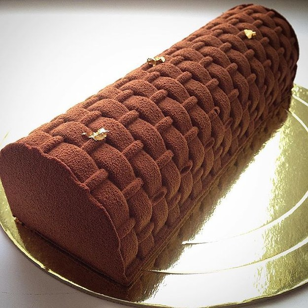 Not all of Noskova's cakes are glossy designs, such as this nutmeg-colored treat...