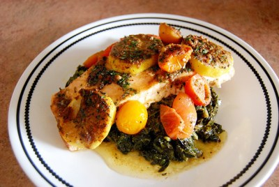 Citrus Ginger Salmon Bake with Garlic Spinach