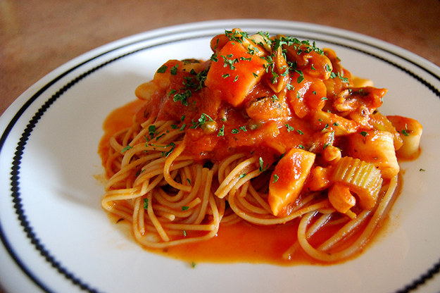 Spicy Lemon Caper Seafood Pasta