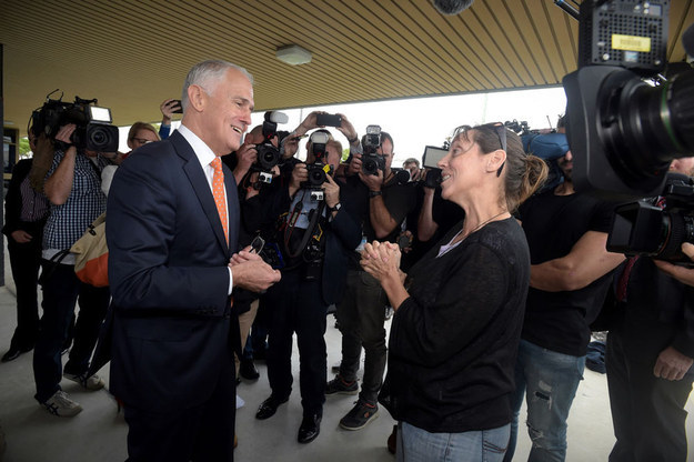 """Turnbull's campaign said that the PM was lunching at the club. It comes just hours after he was confronted by a woman who claimed his government was """"hurting single Mums""""."""