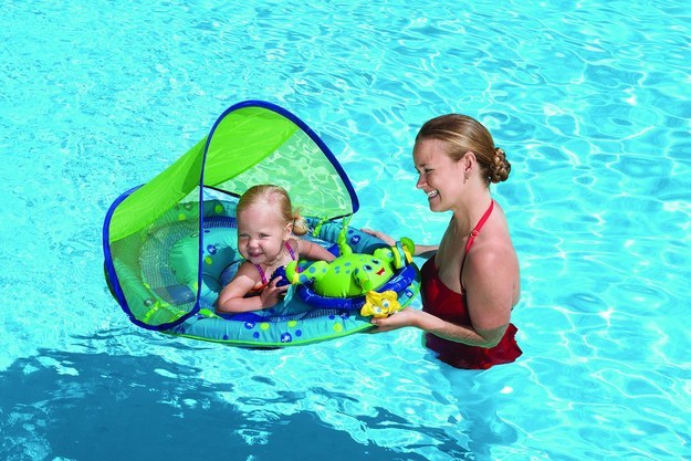 This floating play center with a built-in canopy is great for babies who can't swim yet.