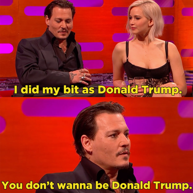 And Johnny Depp talked about that infamous Funny or Die sketch in which he played Donald Trump.