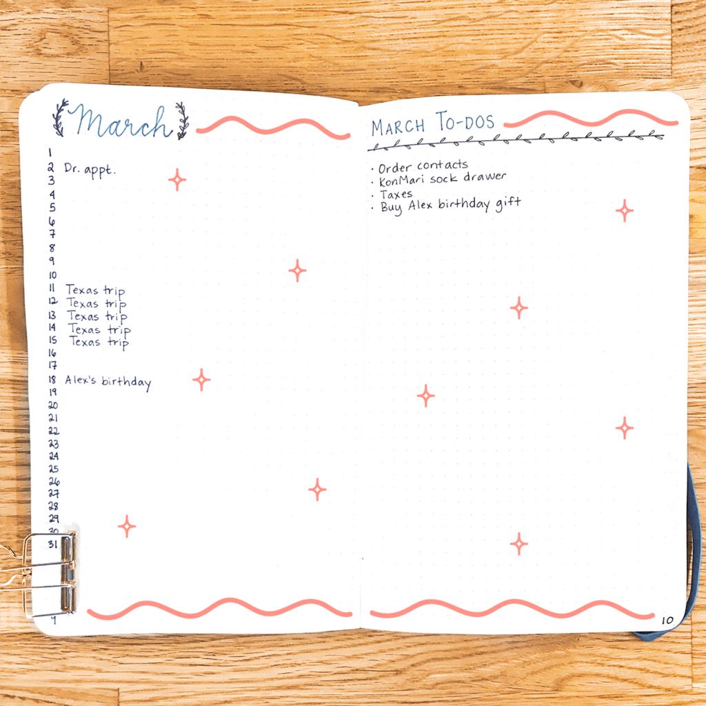 """Ci sono tantissimi layout per queste pagine (prendi qualche ispirazione qui), ma il modo più semplice per fare il calendario mensile è quello di elencare tutte le date sul lato sinistro della pagina. Quindi puoi scrivere nelle cose più importanti - viaggi, compleanni, riunioni importanti, ecc. Se stai usando questo per sostituire il calendario di Google (cosa che non faccio perché ho troppe riunioni di lavoro spesso riprogrammate), potresti voler fai un layout più simile a un calendario. L'elenco delle attività mensili è per le cose più importanti che vuoi affrontare ogni mese - cose come """"fai un appuntamento con un oculista"""" e """"un cassetto per calze KonMari"""". Queste cose non hanno bisogno di date associate a loro. Di nuovo, quando elenchi queste cose, utilizzerai i simboli di """"registrazione rapida"""" ... così il proiettile, la X, il cerchio aperto, ecc. (Qui è dove """"migra"""")"""