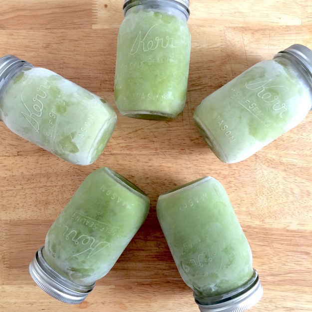 Blend a week's worth of smoothies at once, then freeze them in to-go containers and thaw them in the fridge the night before.