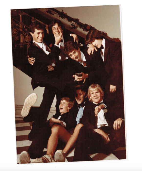 The Late Show posted this photo of Stephen Colbert in the early '80s hanging out with his high school buddies.
