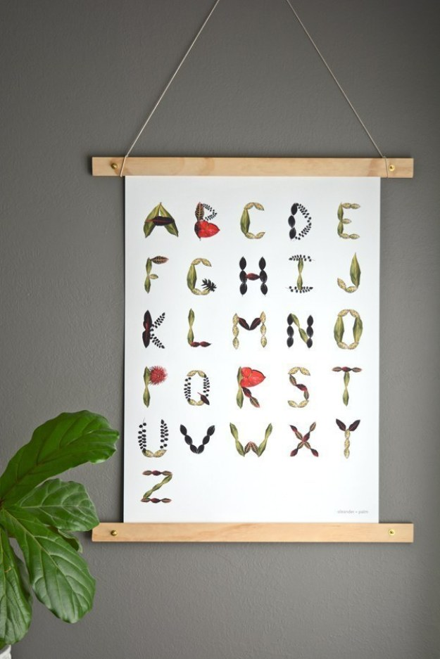 Frame your posters with wooden slats and twine.
