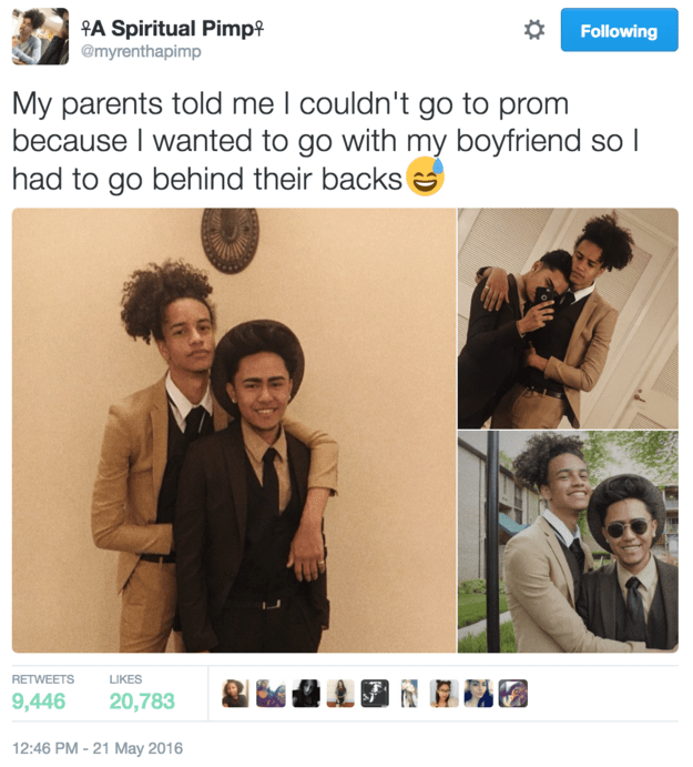 Myren, a Maryland high school student who goes by the handle @myrenthapimp on Twitter, tweeted some photos on Saturday of prom night with his boyfriend. In the tweet, which is getting a lot of attention, he explained that after his parents told him he couldn't go to prom with his boyfriend, he went without telling them.