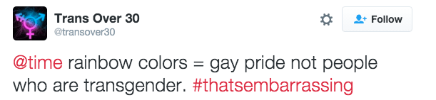 """But some people have referred to Time magazine's use of the rainbow flag as """"embarrassing""""."""