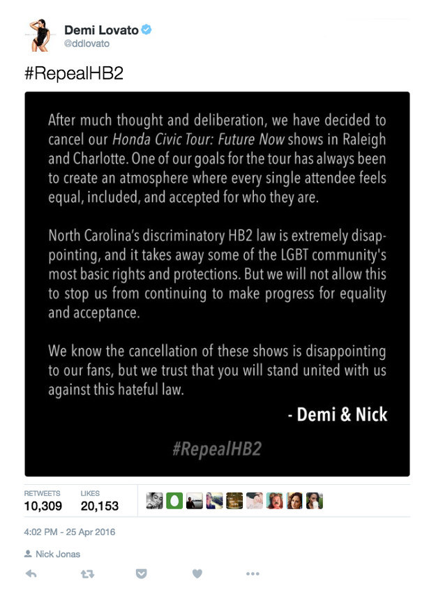 Last month, Demi took a stand against North Carolina's HB2 law, which overrides local LGBT nondiscrimination ordinances in the state and bans transgender people from using public bathrooms that match their gender identity, by canceling the North Carolina stops of her upcoming tour with Nick Jonas in protest.