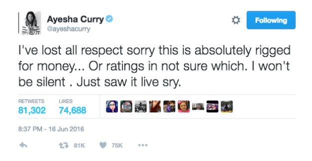 """Ayesha Curry tweeted that the NBA Finals are """"rigged for money"""" after her husband, Warriors point guard Steph Curry fouled out of Game 6 Thursday night and threw his mouthguard into the stands, earning a technical foul and an ejection."""