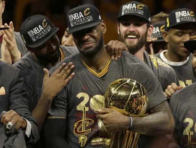 LeBron James broke down crying after leading the Cleveland Cavaliers to their first NBA Championship in franchise history and Cleveland's first professional sports championship since 1964.