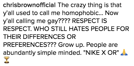 And because Chris is an expert Instagram troller, it didn't take long for him to hop in the comment section and stand up against the gay bashing: