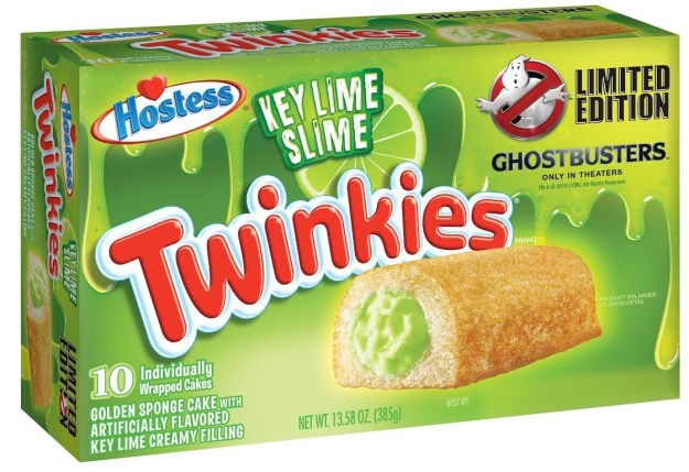 """Hostess announced on Thursday it has teamed up with Sony Pictures to release a Ghostbusters themed Twinkie, complete with green """"slime"""" filling."""