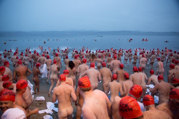 Tasmanians call this the Nude Solstice Swim and as part of Hobart's winter festival, Dark Mofo, the event is their annual ritual celebrating the end of the longest night of the year.