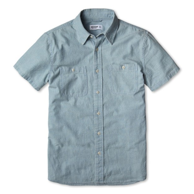 A short-sleeved chambray, $106