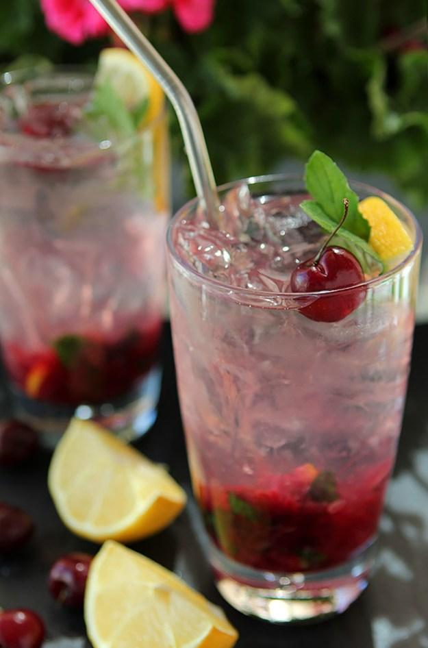Spiked Cherry Mint Spritzer