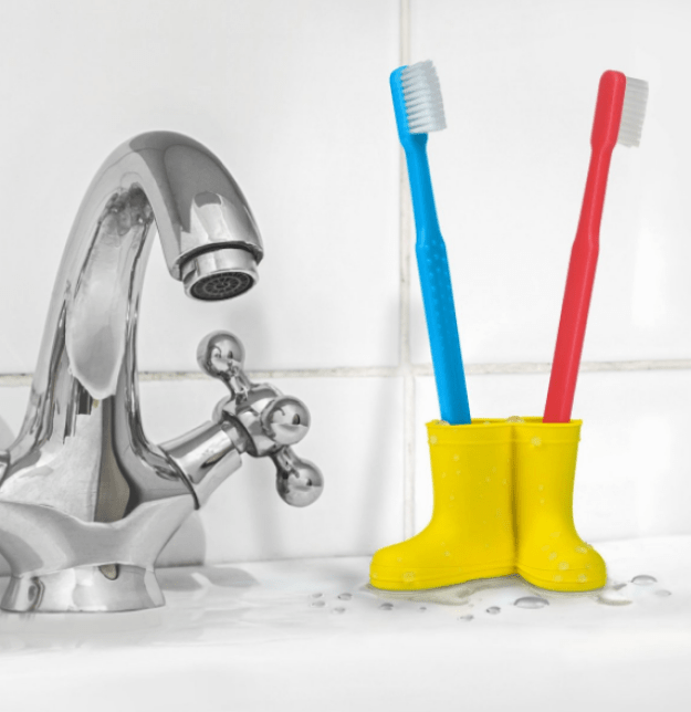 A pair of wellies for a pair of toothbrushes.