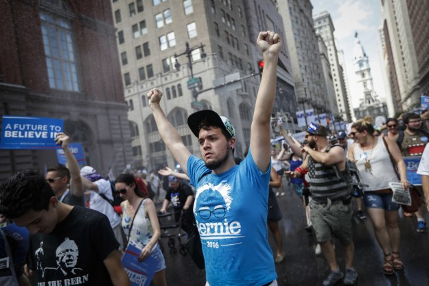 The first Sanders rally kicked off Sunday with more than a 1,000 protesters from all over the country chanting anti-Hillary slogans.