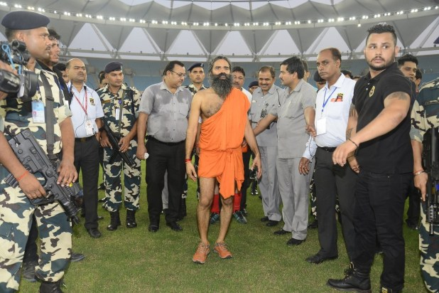 While the rest of the teams showed up in jerseys and normal football gear, Ramdev decided that he doesn't do normal.